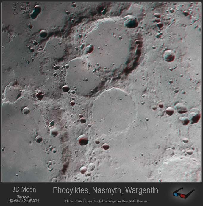 Кратеры Phocylides, Nasmyth, Wargentin 3D