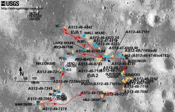 216 Спутниковые фотографии мест посадки модулей Apollo (Аполлон) на Луне